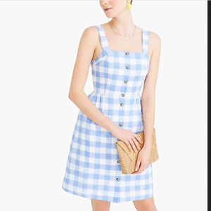 J Crew Button-front dress in linen-cotton